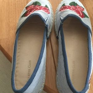 Espadrilles Womens Joey Blue with Red Rose Shoes.